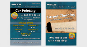 Paza - Car Valeting & Carpet Cleaning - Flayer A6