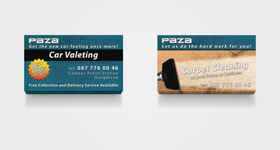 Paza - Car Valeting & Carpet Cleaning - Business Cards